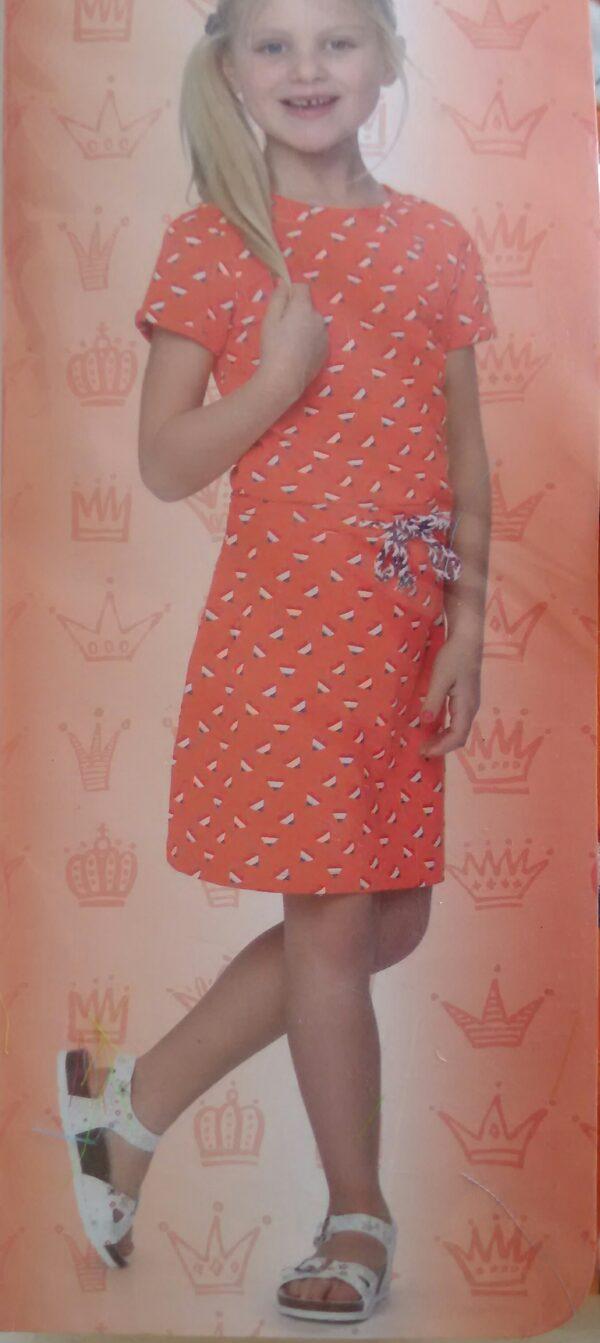 Детска рокля с принт сърца